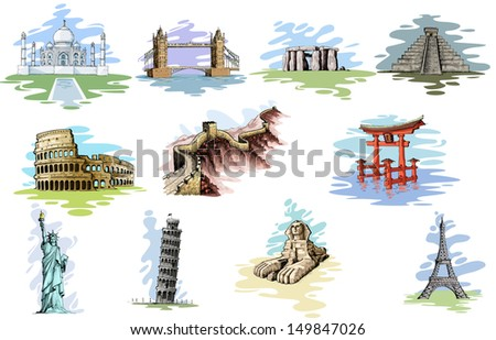 vector illustration of collection of World Famous Monument - stock vector