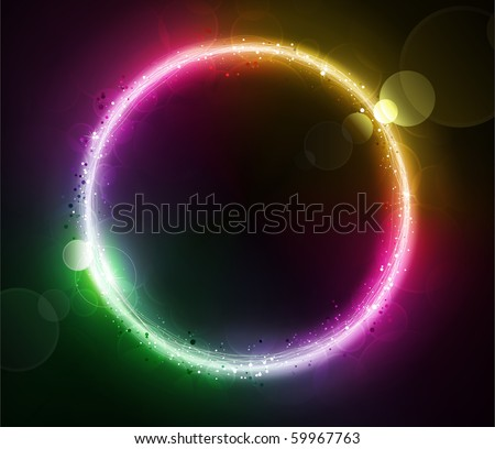 Vector illustration of color abstract background with blurred magic neon light circle - stock vector
