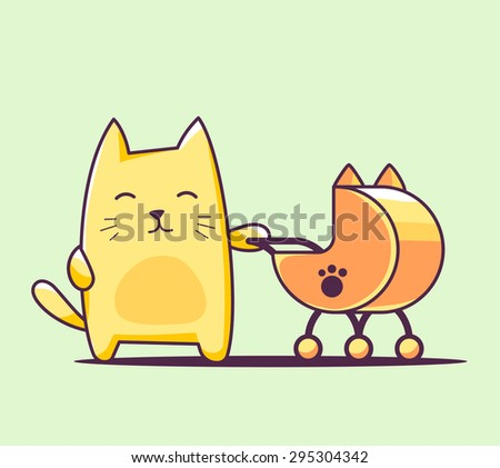 Vector illustration of color character cat with baby carriage on green background. Hand draw line art design for web, site, advertising, banner, poster, board, print and card.   - stock vector