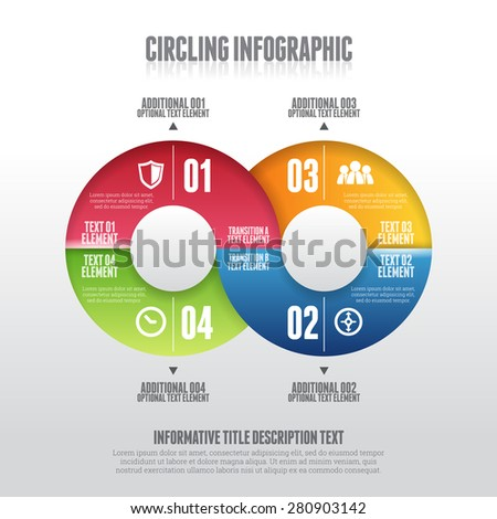 Vector illustration of color circle element infographic design. - stock vector