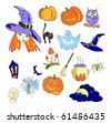 Vector illustration of color elements of Halloween - stock