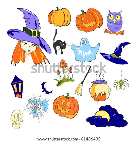 Vector illustration of color elements of Halloween - stock vector