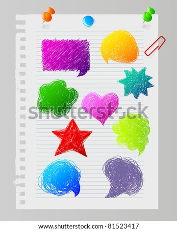 Vector illustration of Color hand drawn speech bubbles - stock vector