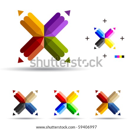 Vector illustration of color pencils with four ends. - stock vector
