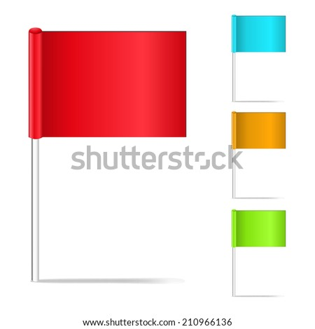 Vector illustration of color pin flags isolated on the white - stock vector