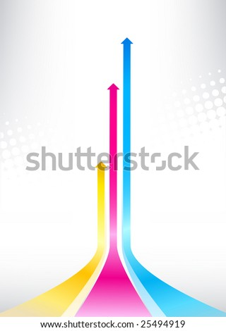 Vector illustration of color print arrows