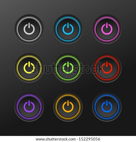 Vector Illustration Of Colored Power Button - stock vector