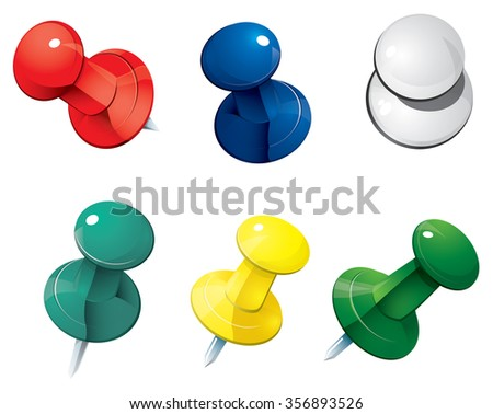 Vector illustration of colored push pin thumbtack isolated on white