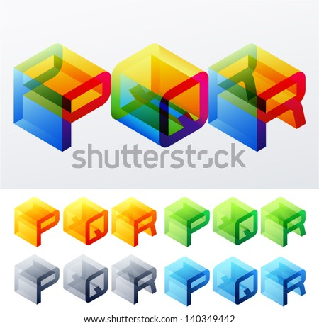 Vector illustration of colored text in isometric view. Cube-styled monospace characters. P Q R - stock vector