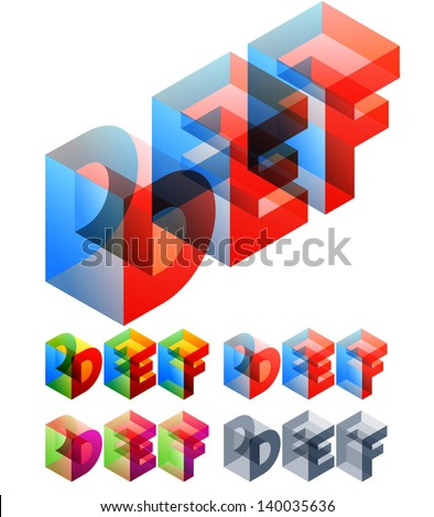 Vector illustration of colored text in isometric view. Standard characters. letters D E F - stock vector