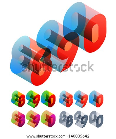 Vector illustration of colored text in isometric view. Standard characters. NUMBERS 8 9 0 - stock vector