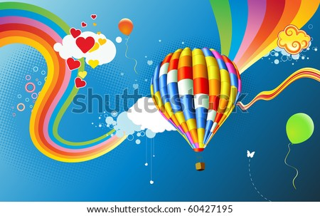 Vector illustration of Colorful abstract Background with funky hot air balloon - great for greeting and birthday postcards, flyers and many more celebration items - stock vector