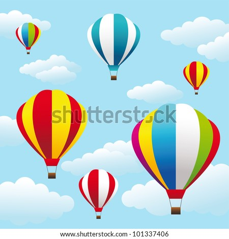 Vector illustration of colorful air balloons on the blue sky - stock vector