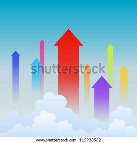 Vector illustration of colorful arrows heading upward, showing upward trends. - stock vector