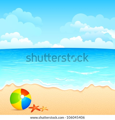 vector illustration of colorful ball and shell on sea beach - stock vector