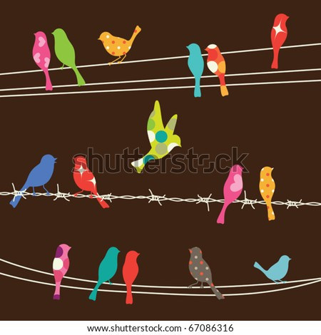 Vector illustration of colorful birds on wires. - stock vector