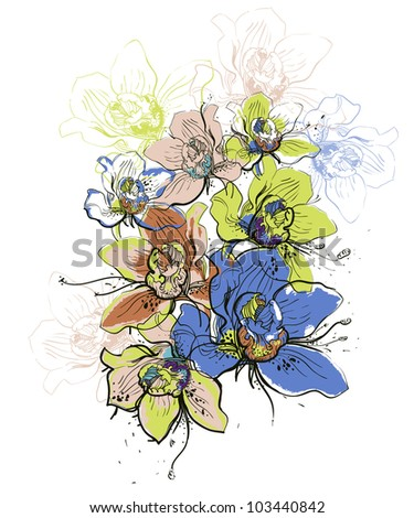 vector illustration of colorful blooming orchids - stock vector