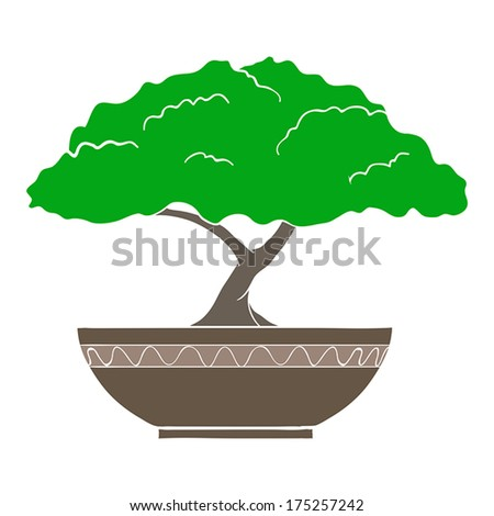 Vector Illustration of colorful bonsai tree isolated on white background - stock vector