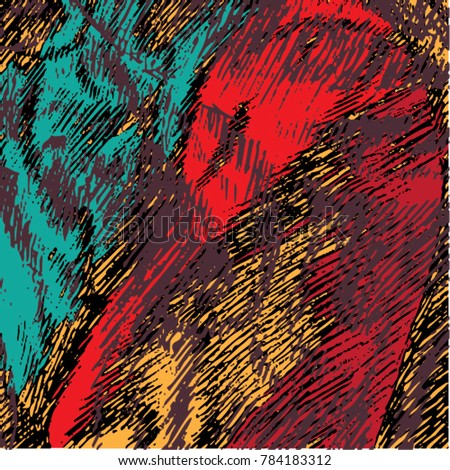 Vector illustration of colorful bright stripped pattern. Black, red, turquoise, orange, hand drawn.