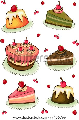 Vector illustration of colorful cakes.