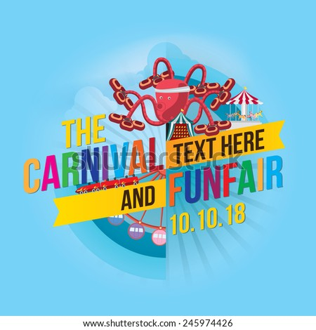 Vector illustration of colorful carnival funfair design. - stock vector