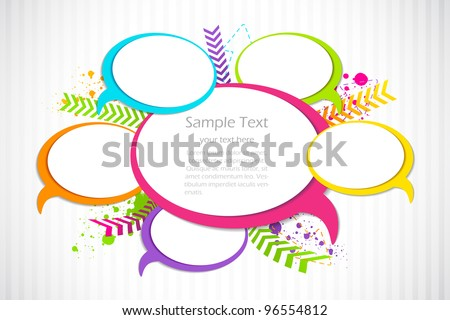 vector illustration of colorful chat bubble against abstract background - stock vector