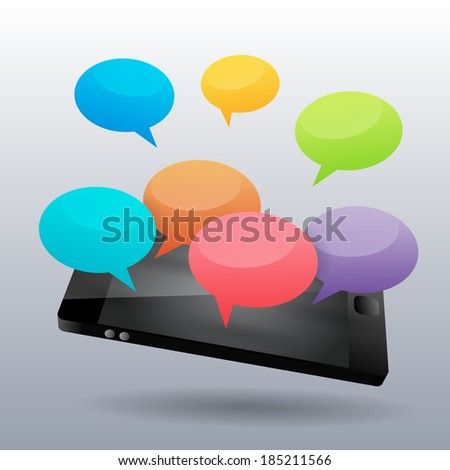 Vector illustration of colorful chatters on the phone.