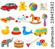 vector illustration of colorful collection of toys for kids - stock vector