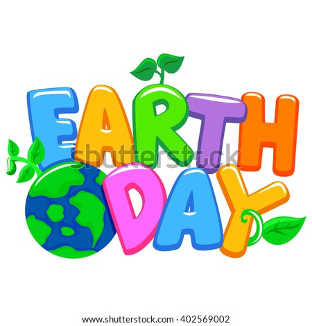 Vector Illustration of Colorful 3D Earth Day Letters