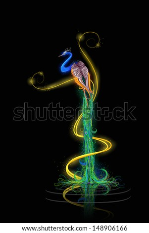 vector illustration of colorful decorated peacock - stock vector