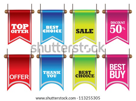 Vector illustration of colorful discount sell labels