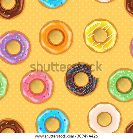 Vector illustration of Colorful donuts seamless pattern - stock vector