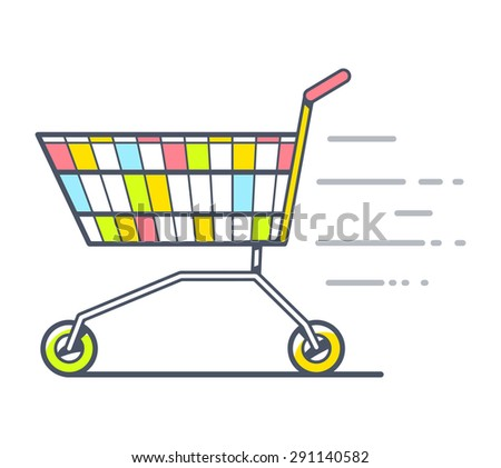 Vector illustration of colorful fast moving shopping trolley side view on white background. Hand draw line art design for web, site, advertising, banner, poster, board and print.   - stock vector