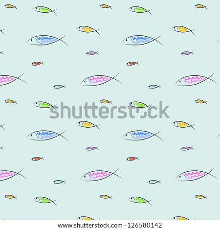 vector illustration of colorful fish swimming,  on light blue background - stock vector