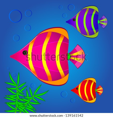 Vector illustration of colorful fishes - stock vector