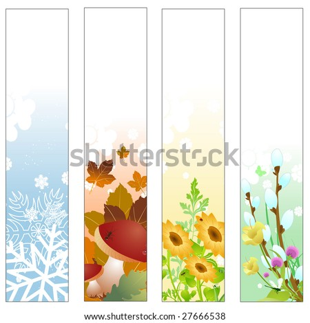 Vector illustration of Colorful Four seasons banners - stock vector