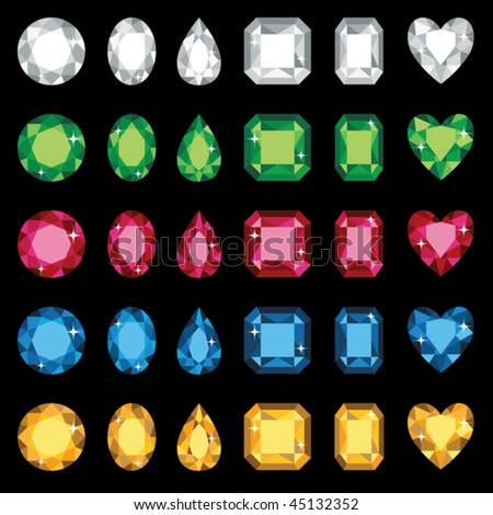 Vector illustration of colorful gemstones in six different shapes. No gradients used. - stock vector