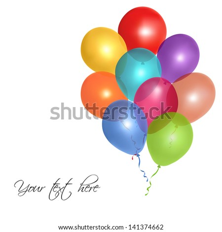 ... of colorful glossy balloons on white background - stock vector