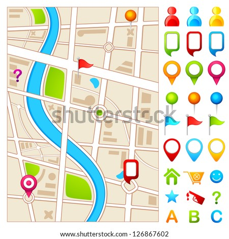 vector illustration of colorful GPS pointer with map - stock vector
