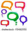 vector illustration of colorful hand drawn felt pen speech bubble set - stock vector