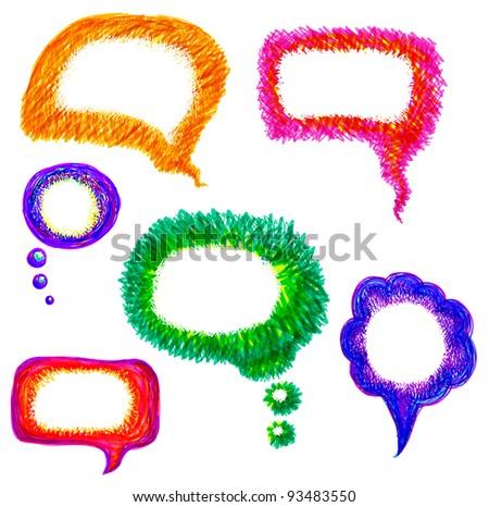vector illustration of colorful hand drawn felt pen speech bubble set - stock vector