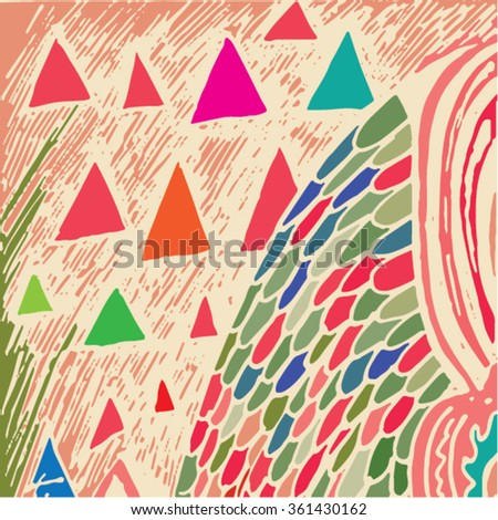Vector illustration of colorful hand drawn graphic pattern / background.