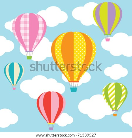 Vector illustration of colorful hot air balloons on the blue sky. Seamless pattern of this picture and seamless sky pattern are included in swatch. - stock vector
