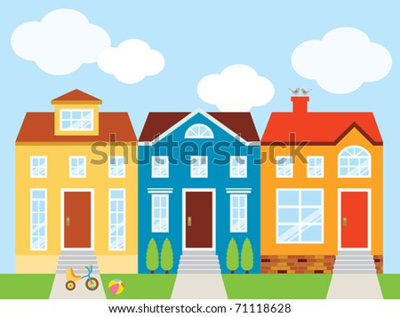 Vector illustration of colorful houses with front yard. - stock vector