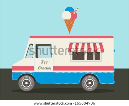 Vector illustration of colorful ice cream truck in flat style - stock vector