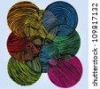 Vector illustration of colorful ornamental circle drawing. - stock vector