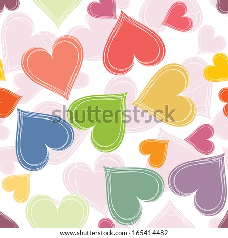 Vector illustration of colorful paired hearts background.