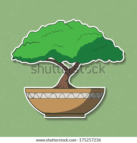 Vector Illustration of colorful paper bonsai tree. - stock vector
