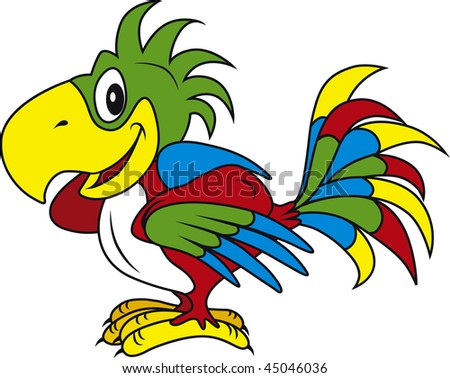 Vector illustration of colorful parrot - stock vector