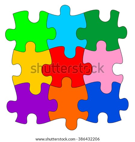 Vector illustration of colorful puzzle pieces - stock vector